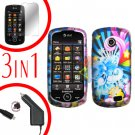 For Samsung Solstice II 2 A817 Screen +Car Charger +Cover Hard Case A-Flower 3-in-1