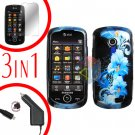 For Samsung Solstice II 2 A817 Screen +Car Charger +Cover Hard Case Flower 3-in-1