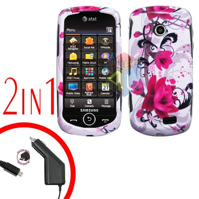 For Samsung Solstice II 2 A817 Car Charger +Cover Hard Case W-Flower 2-in-1