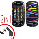 For Samsung Solstice II 2 A817 Car Charger +Cover Hard Case Rainbow 2-in-1