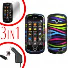 For Samsung Solstice II 2 A817 Screen +Car Charger +Cover Hard Case Rainbow 3-in-1