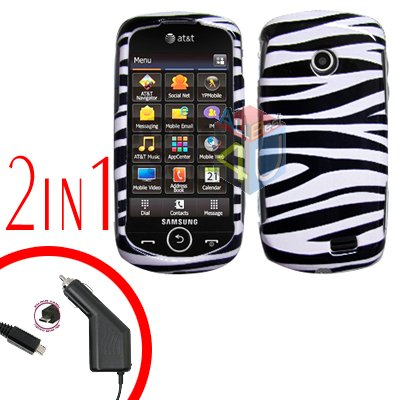 For Samsung Solstice II 2 A817 Car Charger +Cover Hard Case Zebra 2-in-1