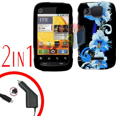 For Motorola Citrus WX445 Car Charger + Cover Hard Case Flower 2-in-1