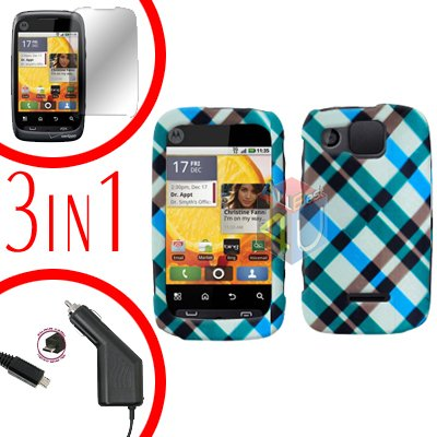 For Motorola Citrus WX445 Screen +Car Charger +Cover Hard Case Plaid 3-in-1