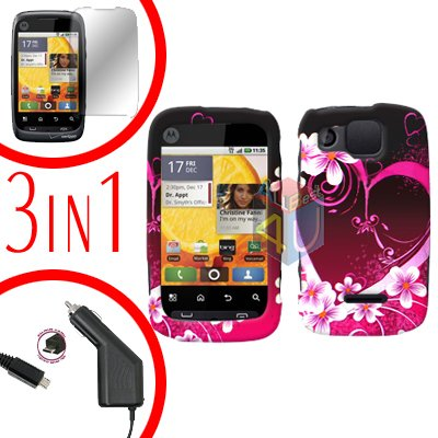 For Motorola Citrus WX445 Screen +Car Charger +Cover Hard Case Love 3-in-1
