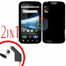 For Motorola Atrix 4G MB860 Car Charger + Cover Hard Case Rubberized Black 2-in-1