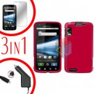 For Motorola Atrix 4G MB860 Screen +Car Charger +Cover Hard Case Rubberized Rose Pink 3-in-1