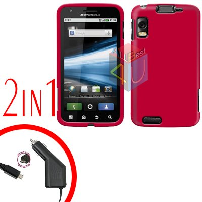 For Motorola Atrix 4G MB860 Car Charger + Cover Hard Case Rubberized Rose Pink 2-in-1