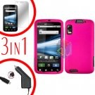 For Motorola Atrix 4G MB860 Screen +Car Charger +Cover Hard Case Rubberized Hot Pink 3-in-1