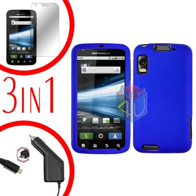 For Motorola Atrix 4G MB860 Screen +Car Charger +Cover Hard Case Rubberized Blue 3-in-1