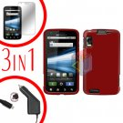 For Motorola Atrix 4G MB860 Screen +Car Charger +Cover Hard Case Rubberized Red 3-in-1