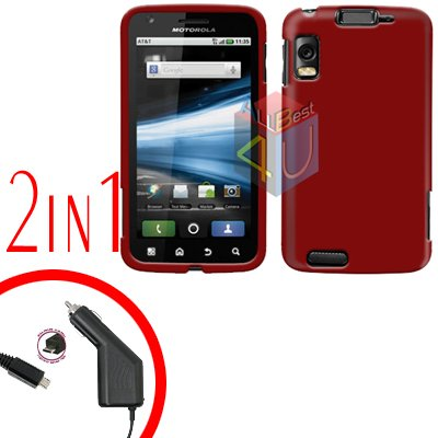 For Motorola Atrix 4G MB860 Car Charger + Cover Hard Case Rubberized Red 2-in-1