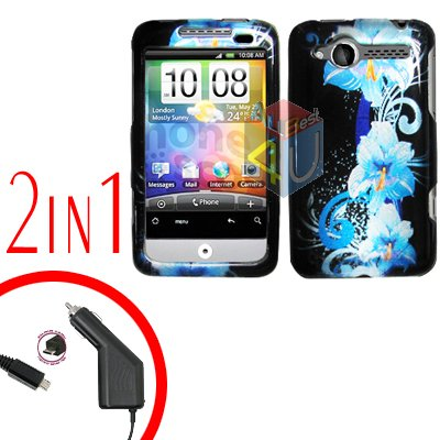 For HTC Wildfire Car Charger +Cover Hard Case Flower 2-in-1