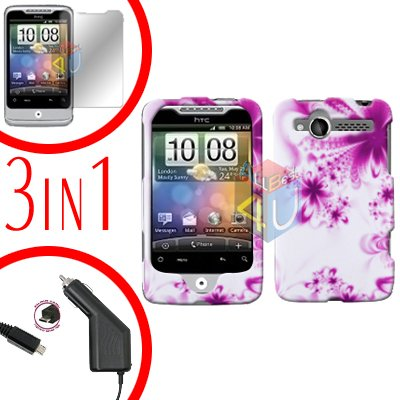 For HTC Wildfire 6225 Screen +Car Charger +Cover Hard Case H-Flower 3-in-1
