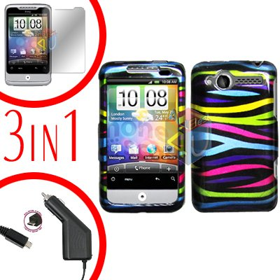 For HTC Wildfire 6225 Screen +Car Charger +Cover Hard Case Rainbow 3-in-1