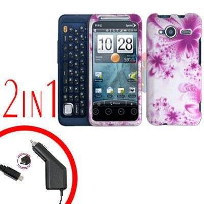 For HTC Evo Shift 4G Car Charger +Cover Hard Case H-Flower 2-in-1