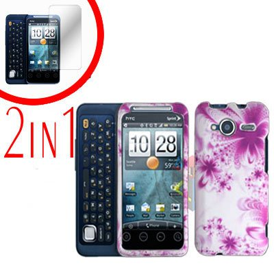 For HTC Evo Shift 4G Screen Protector + Cover Hard Case H-Flower 2-in-1