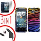 For HTC Evo Shift 4G Screen +Car Charger +Cover Hard Case C-Zebra 3-in-1