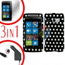 For HTC Surround T8788 Screen +Car Charger +Cover Hard Case Polka Dot 3-in-1