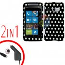 FOR HTC Surround T8788 Car Charger + Cover Hard Case Polka Dot 2-in-1