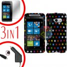 For HTC Surround T8788 Protector Screen +Car Charger +Cover Hard Case R-Dot 3-in-1