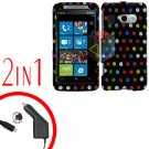 FOR HTC Surround T8788 Car Charger + Cover Hard Case R-Dot 2-in-1