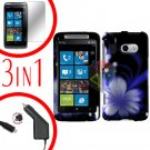 For HTC Surround T8788 Protector Screen +Car Charger +Cover Hard Case B-Flower 3-in-1