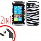 FOR HTC Surround T8788 Car Charger + Cover Hard Case Zebra 2-in-1