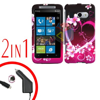 FOR HTC Surround T8788 Car Charger + Cover Hard Case Love 2-in-1
