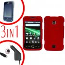 For Huawei Ascend M860 Screen Protector +Car Charger +Hard Case Rubberized Red 3-in-1
