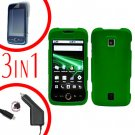 For Huawei Ascend M860 Screen Protector +Car Charger +Hard Case Rubberized Green 3-in-1