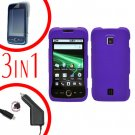 For Huawei Ascend M860 Screen Protector +Car Charger +Hard Case Rubberized Purple 3-in-1