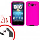 For HTC Inspire 4G Car Charger +Cover Silicon Case Hot Pink