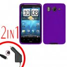 For HTC Desire HD A9191 Car Charger +Cover Silicon Case Purple