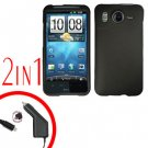 For HTC Inspire 4G Car Charger +Cover Hard Case Black 2-in-1