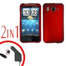 For HTC Inspire 4G Car Charger +Cover Hard Case Red 2-in-1