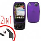 For Palm Pre 2 Car Charger +Cover Hard Case Rubberized Purple 2-in-1