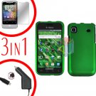 For Samsung Galaxy S 4G Car Charger +Hard Case Rubberized Green +Screen