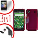 For Samsung Galaxy S 4G Car Charger +Hard Case Rubberized R-Pink +Screen