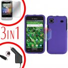 For Samsung Galaxy S 4G Car Charger +Hard Case Rubberized Purple +Screen