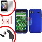 For Samsung Galaxy S 4G Car Charger +Hard Case Rubberized Blue +Screen