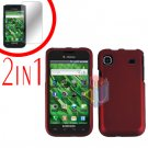 For Samsung Galaxy S 4G Screen Protector +Cover Hard Case Rubberized Red