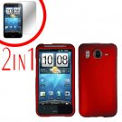 For HTC Desire HD Cover Hard Case Red + Screen Protector 2-in-1