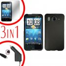 For HTC Desire HD Protector Screen +Car Charger +Cover Hard Case Black 3-in-1