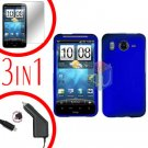 For HTC Desire HD Protector Screen +Car Charger +Cover Hard Case Blue 3-in-1