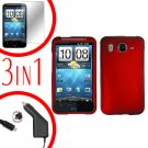 For HTC Desire HD Protector Screen +Car Charger +Cover Hard Case Red 3-in-1