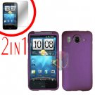 For HTC Inspire 4G Cover Hard Case Purple + Screen Protector 2-in-1