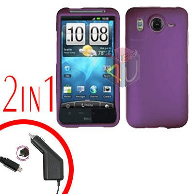 For HTC Desire HD Car Charger +Cover Hard Case Purple 2-in-1