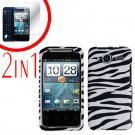 For HTC Evo Shift 4G Cover Hard Case Zebra +Screen 2-in-1