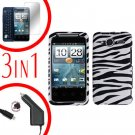 For HTC Evo Shift 4G Car Charger +Cover Hard Case Zebra +Screen 3-in-1